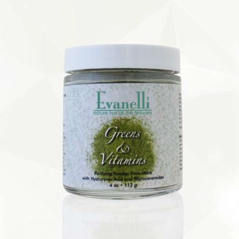 greens and vitamins-evanelli-powder face mask green mask face mask with hyaluronic acid and phytoceramides